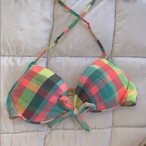 Other - Neon plaid bikini top size Large